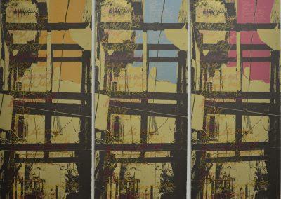 Leena Nammari, Hanging Balcony (triptych), Screenprint, 110x40cm