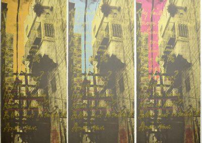 Leena Nammari, Thread (triptych), Screenprint, 110x40cm