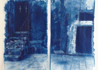 Leena Nammari, Abscent Gods, Cyanotype on tissue