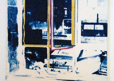 Leena Nammari, From Sido's house – veranda window-1, cyanotype.